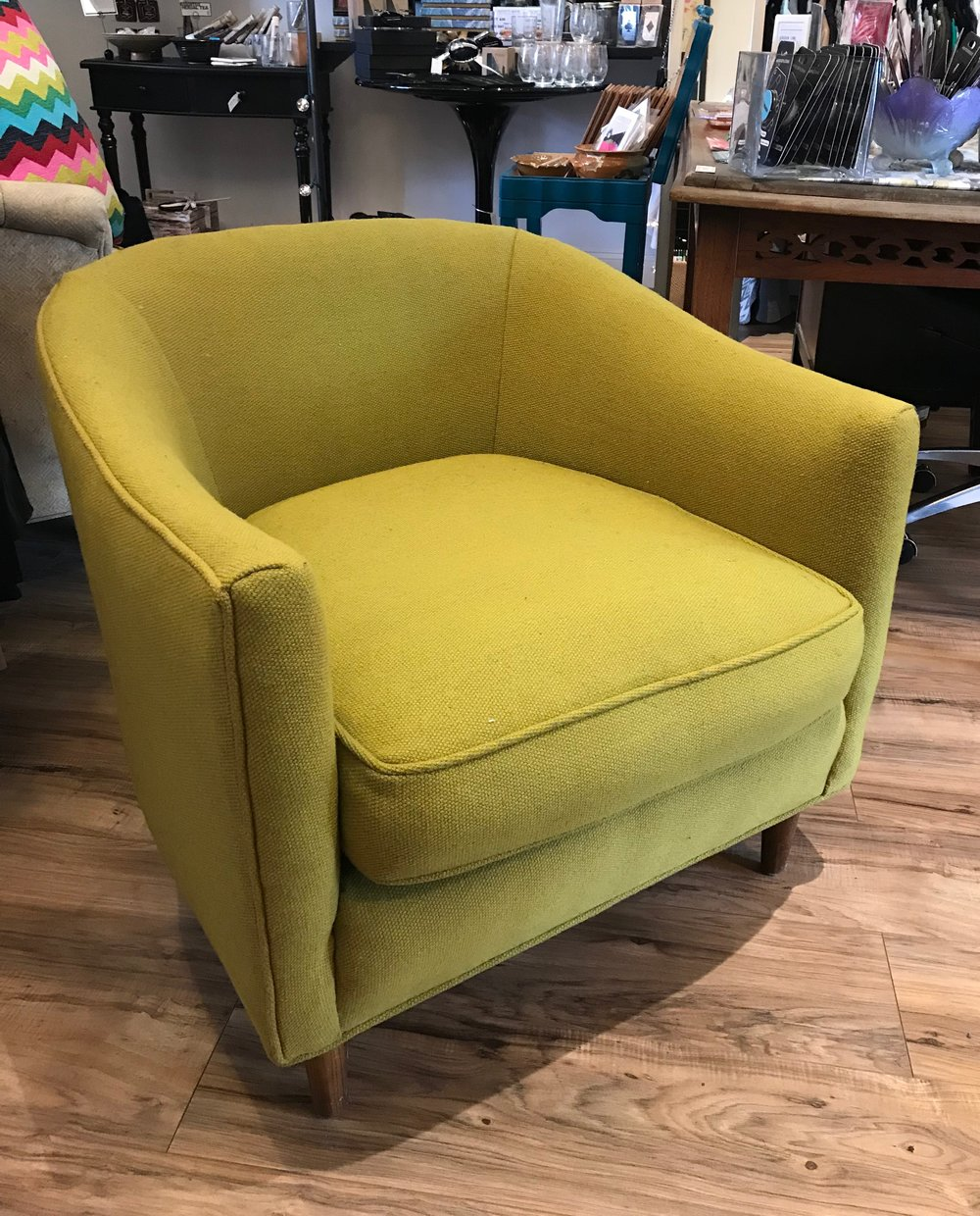 Green Owl Design - We love this chair and its price! Seriously, need a comfy gift for that lounger (us) in your life? Get to Green Owl fast and snag this beauty before it's gone! $125