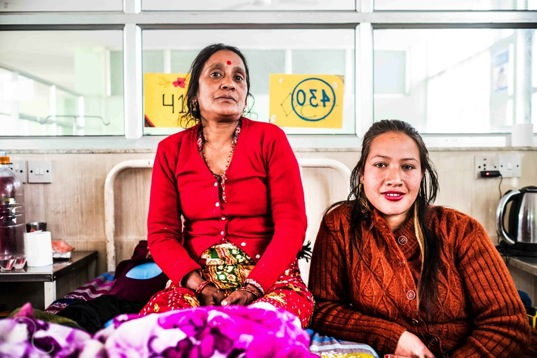 Naran Devi Khadka  Naran Devi Khadka (42 yrs.) with her daughter who works in a carpet factory in Kathmandu. Naran married when she was 14. She gave birth to four children. Naran first developed signs of prolapse when she was 34.