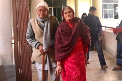 Sabitra Tripathi  Sabitra Tripathi (middle), 70 yrs, poses for a picture with her husband, on their return home after she spent 3 weeks at the hospital. Sabitra was 9 yrs old when she married and gave birth to four children, three of whom are living. She developed prolapse at 60.
