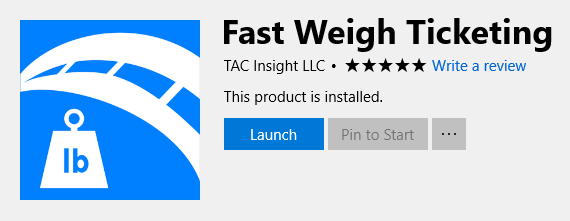 Fast-Weigh 10 Desktop on the Windows Store