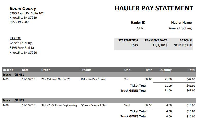 Sample Hauler Pay Statement