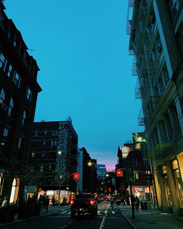 NYC pulling on my heart strings, taken 5 seconds ago on Prince Street. April evenings. Finding silence in a perfect moment in this city has been my homework since I landed here almost two years ago. Thank you, NYC.