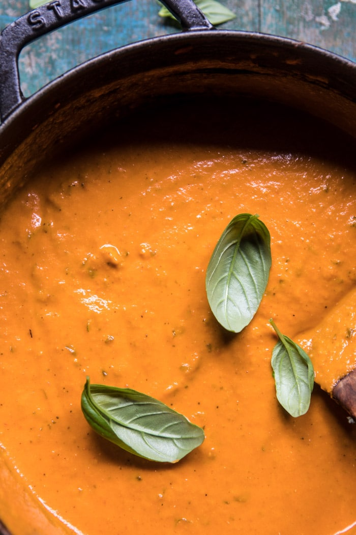 Six Ingredient Creamy Roasted Tomato Soup , Half Baked Harvest