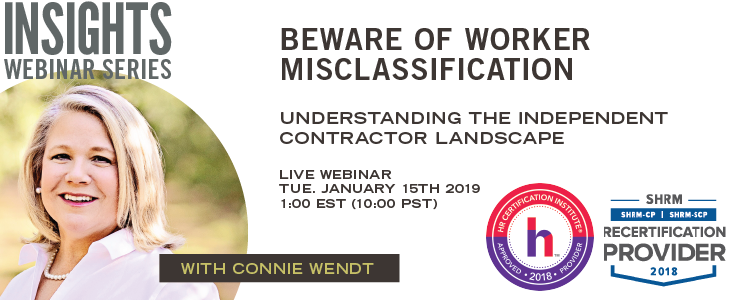 Webinar on Independent Contractor Misclassification SHRM and HRCI Credit
