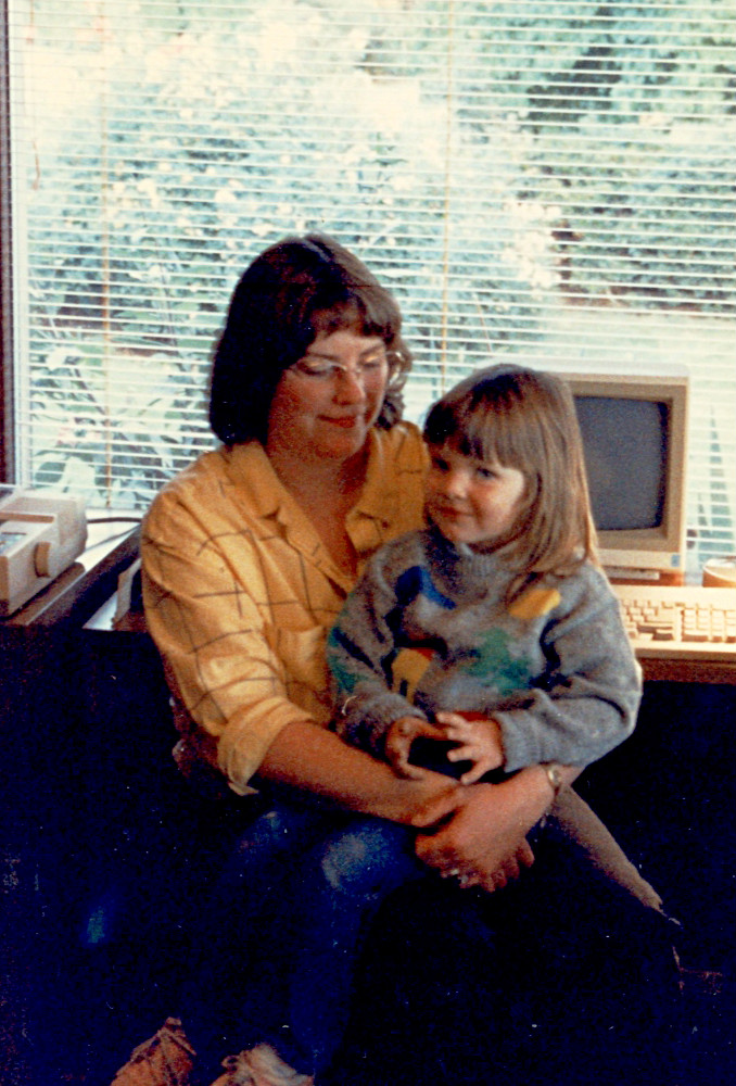 Susan and Erin at home office circa 1988