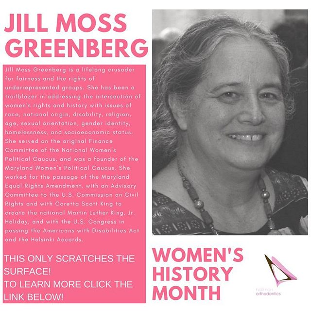 Jill Moss Greenberg has worked tirelessly for many underrepresented groups. To learn more about her work, visit her Maryland Hall of Fame site: https://goo.gl/YhWJYh #maryland #neverthelessshepersisted #trailblazer #hallmanortho #hallmanorthodontics #hallmanorthodonticsmile