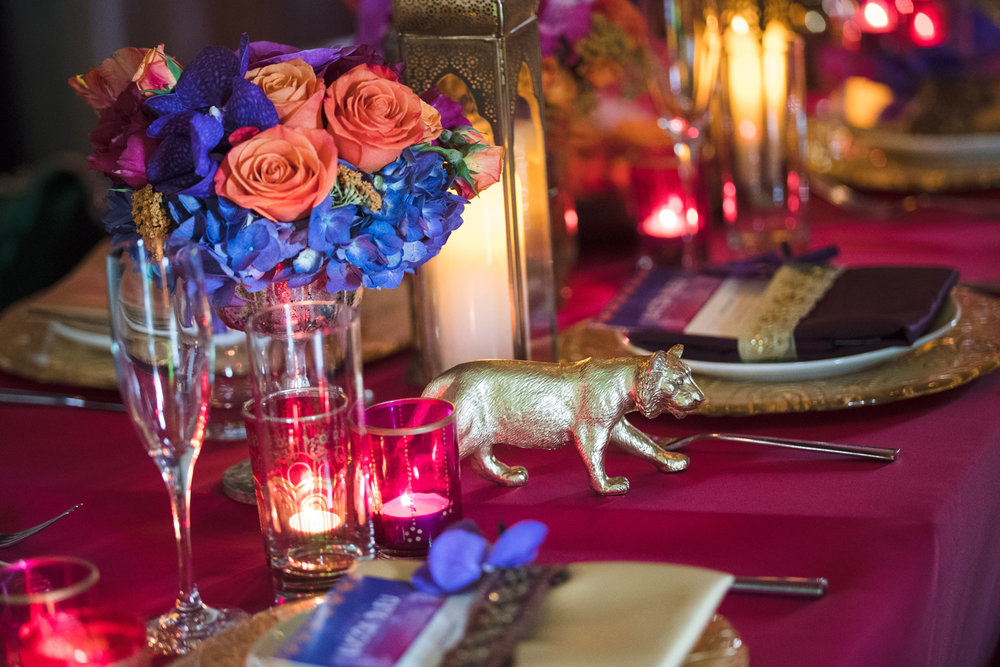 Moroccan+Inspired+Baby+Shower+Party+colorful+tea+lights+decorated+the+tables