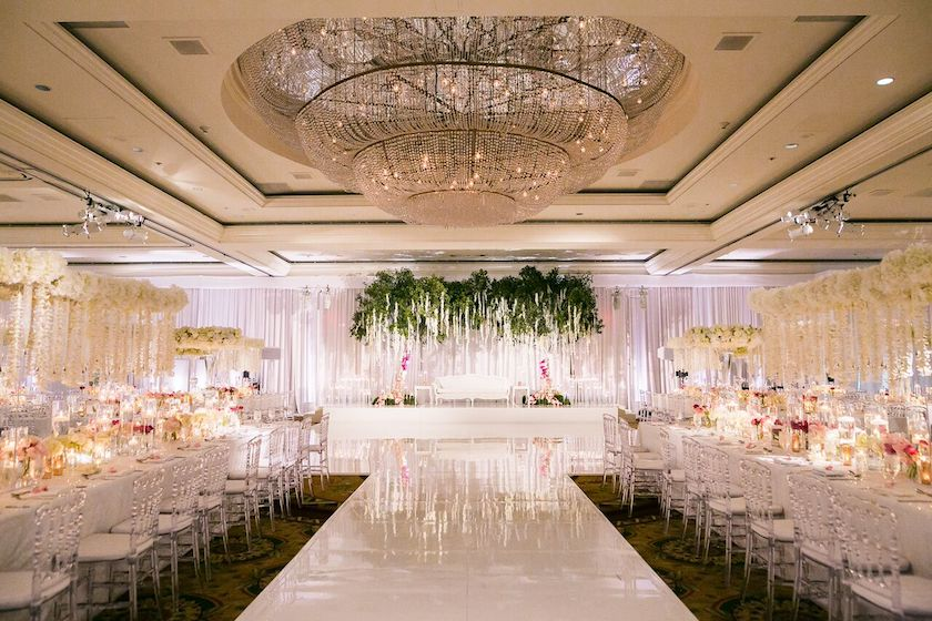 wedding reception, dance floor, reception, indian wedding, wedding flowers, shawna yamamoto, greenery
