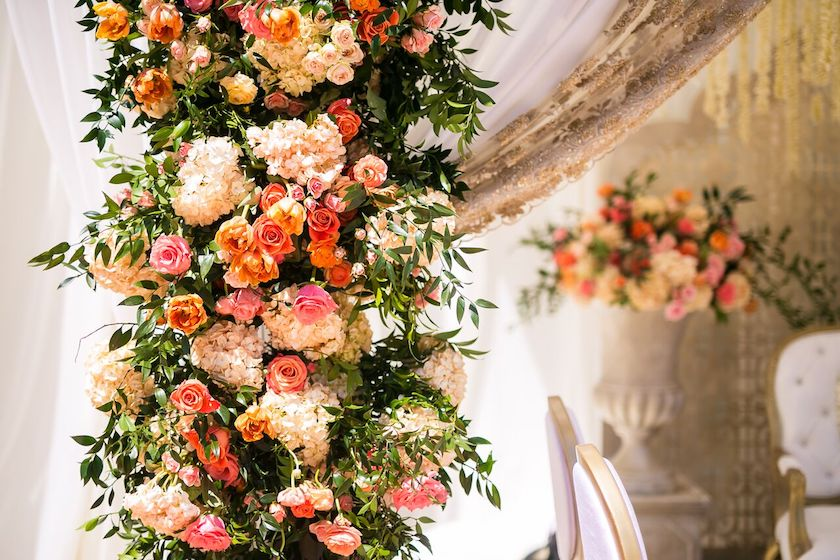 orange flowers, wedding flowers, blush flowers, enchanting nuptials, wedding design, floral design, shawna yamamoto