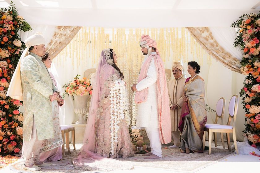bride and groom, wedding ceremony, indian wedding ceremony, ceremony, shawna yamamoto, floral design, event design