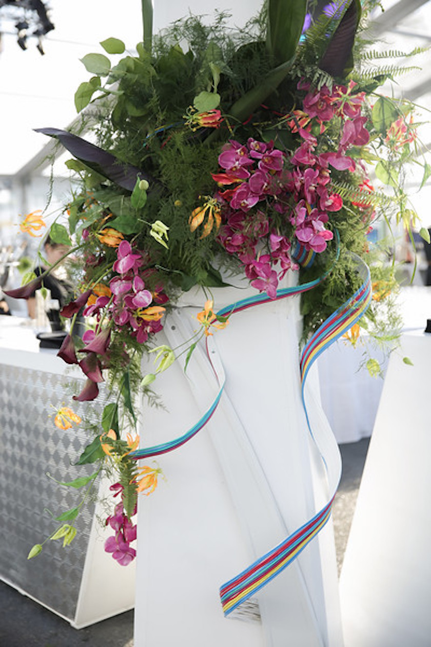 tropical, flowers, all white, modern, tented event, grand opening, wmtv, shawna yamamoto