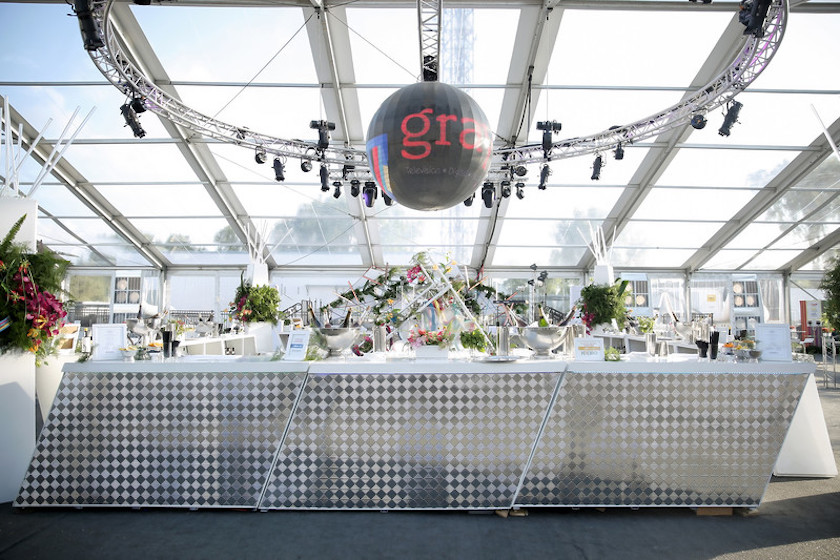 bar, modern decor, metallic, disco ball, all white, tented event, shawna yamamoto, wmtv, grand opening