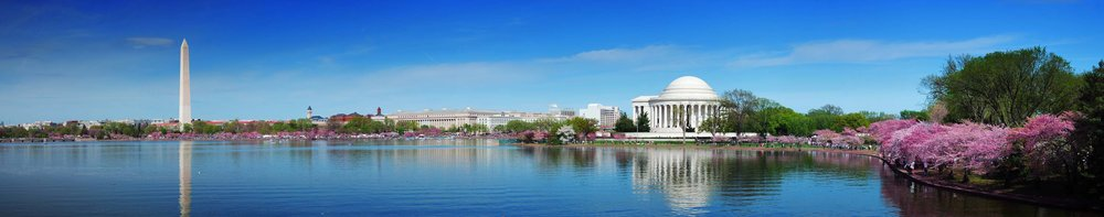 Panorama of Washington DC's Tidal Basin with Views of Washington Monument and Jefferson Memorial