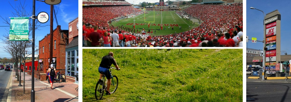 Collage of Downtown College Park, MD, a U of MD Football Game, Cycling, and a Strip Mall Retail Sign