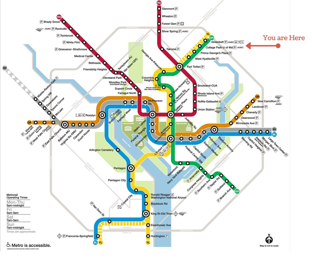 Washington DC Metro Map - Cherry Hill Park Labeled You Are Here with Arrow