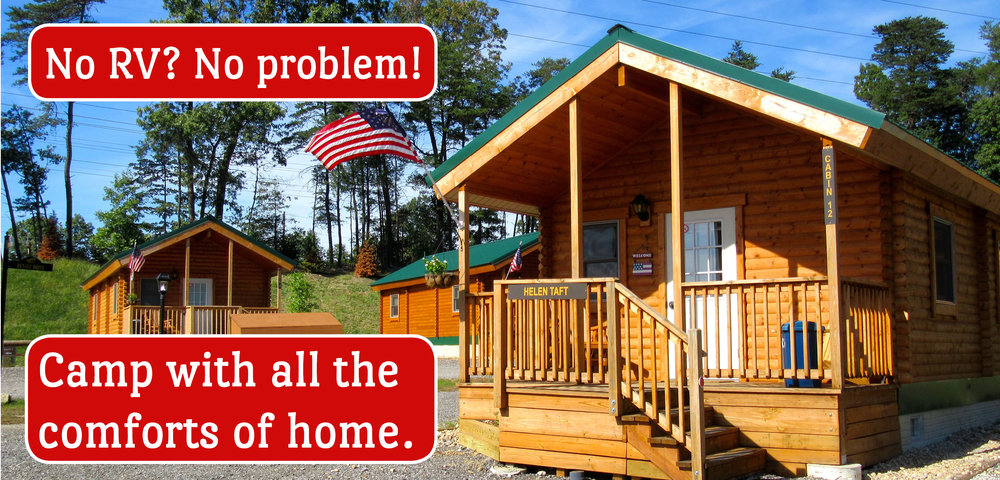 Premium Log Cabins at Cherry Hill Park (No RV? No problem! Camp with all the comforts of home.)