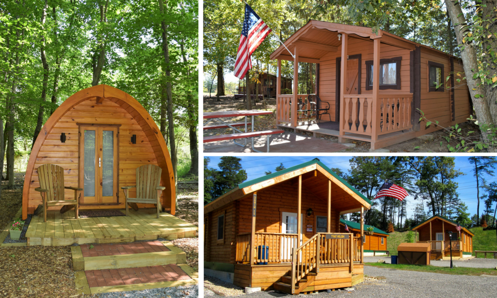 Glamping Pod, Rustic Cabin, and Premium Cabin Exteriors at Cherry Hill Park