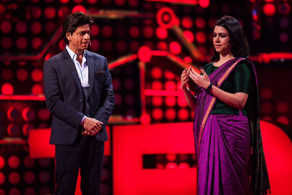 photo credit @TED (2017) photographer: Amit Mahadesiya.  TED Talks India Nayi Soch , hosted by Shahrukh Khan.   View founder Jasmeen Patheja's  TED talk  .