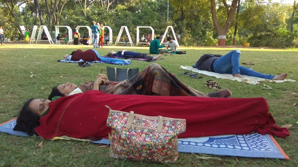 Meet To Sleep 2018, Vadodara , Kamatibag. Action Shero Citizens of Vadodara and members of Olakh Foundation