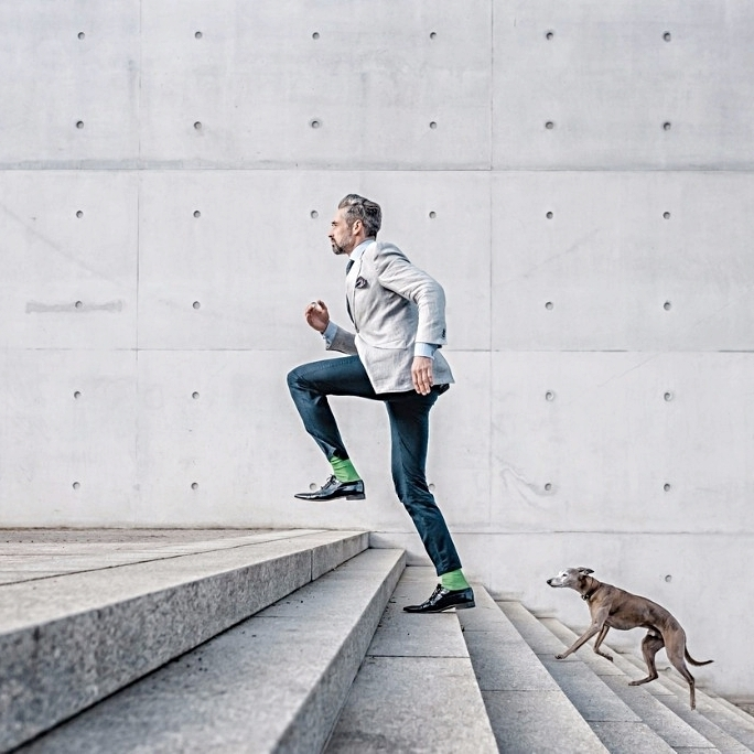 elegant-bearded-businessman-running-up-stairs-with-dog-in-city-picture-id667481446.jpg