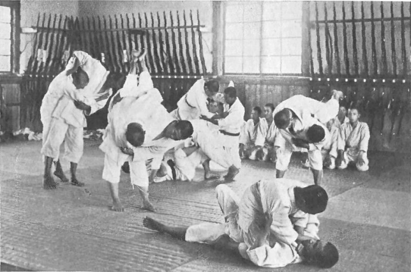 Jujutsu training at an agricultural school in Japan around 1920