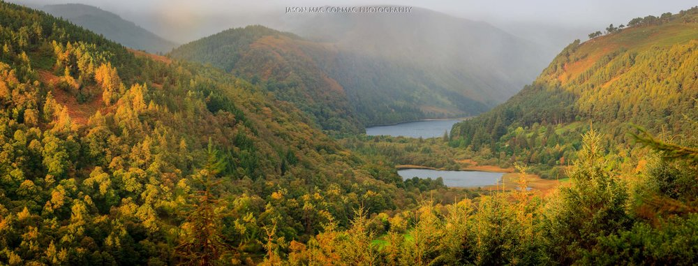 Glendalough in Autumn or Fall. Magical light