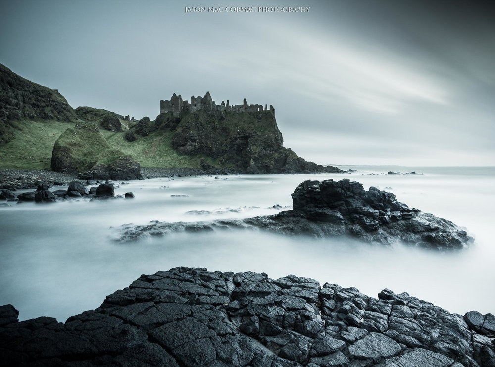 Castle Greyjoy in Game of Thrones. Dunluce Castle with a long exposure image.