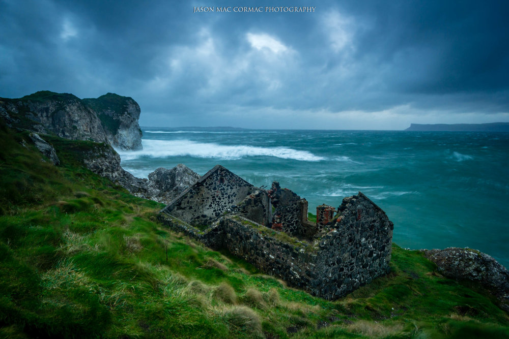 Broody skies and seas at Kinbane Head