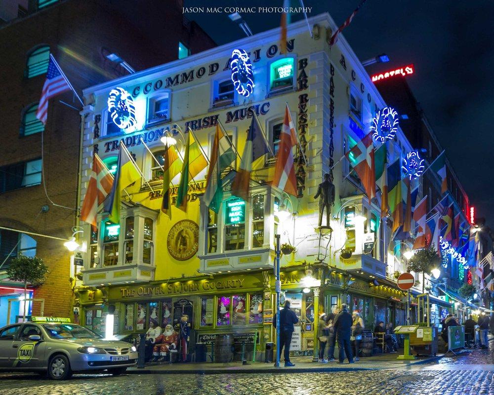 Oliver St. John Gogarty in Temple Bar area of Dublin