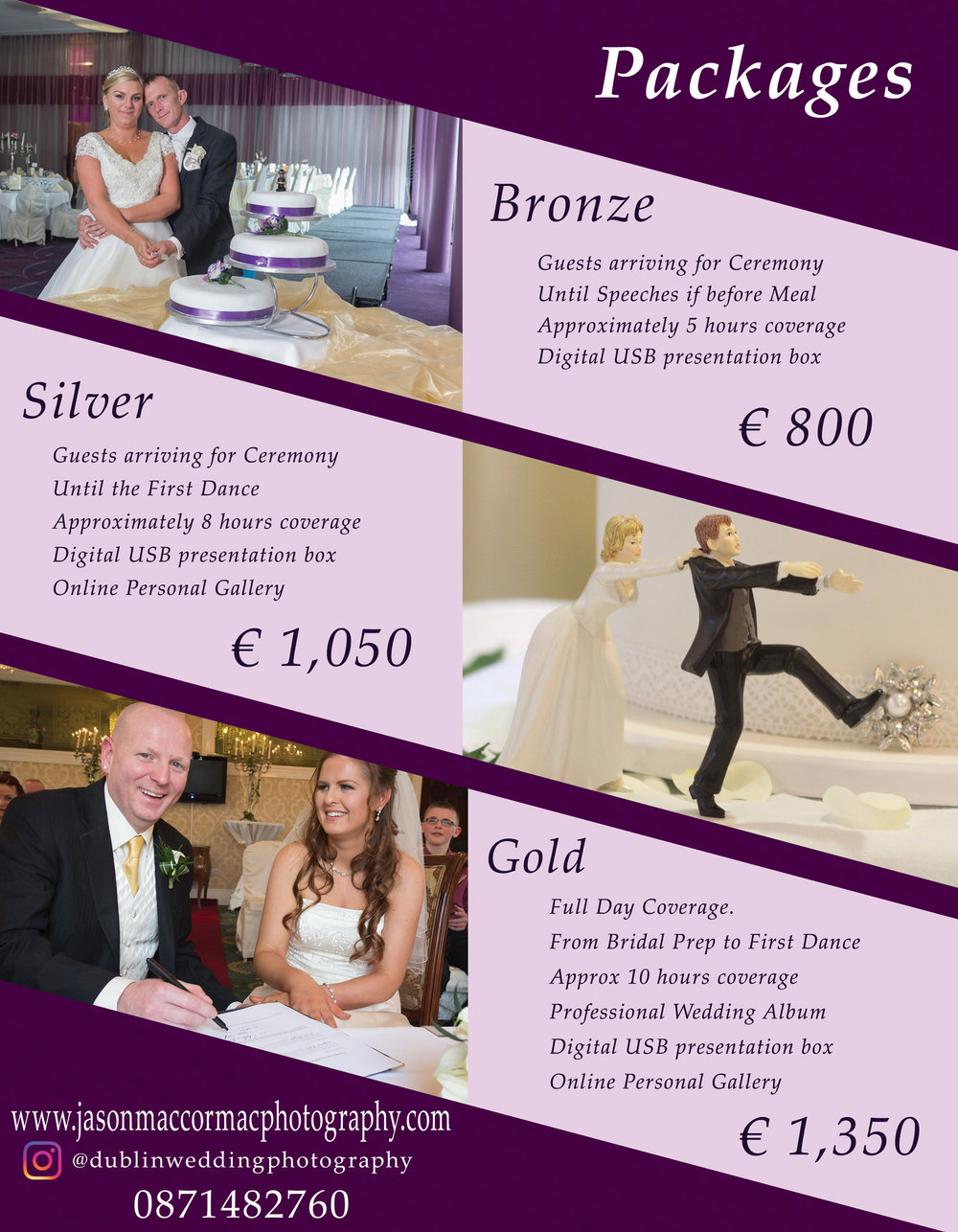 Wedding Photography Prices 2018 - Bespoke packages and additional options also available.