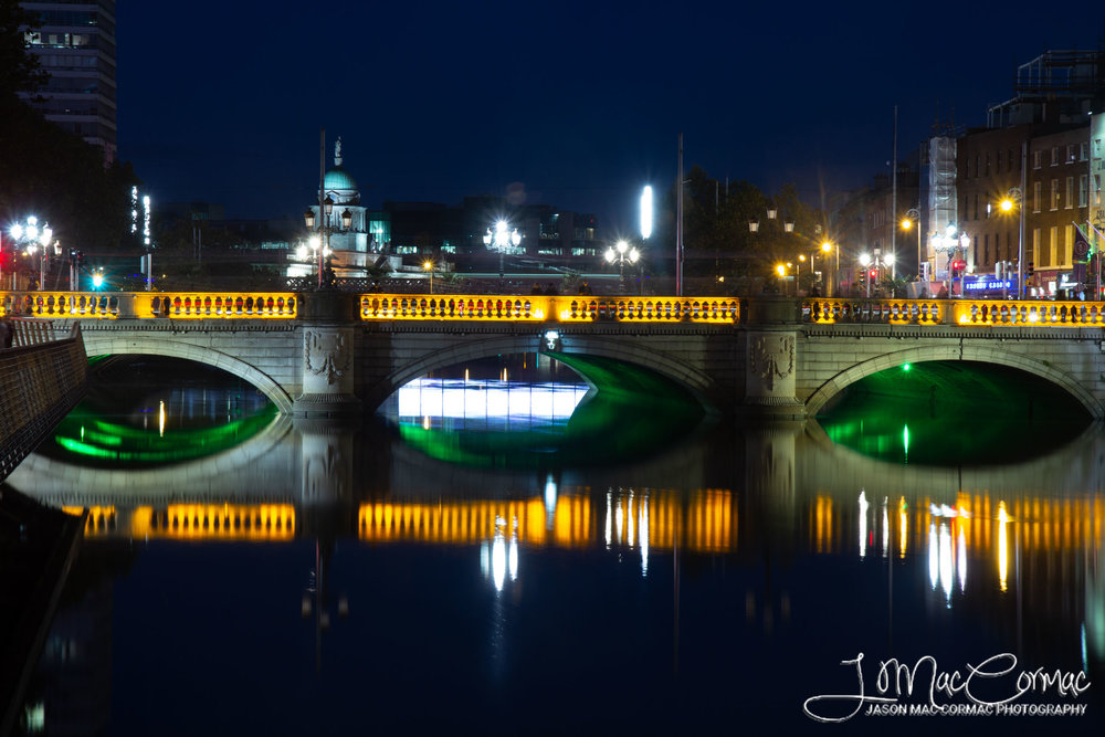 Blue hour passing by at O'Connell Street Bridge.