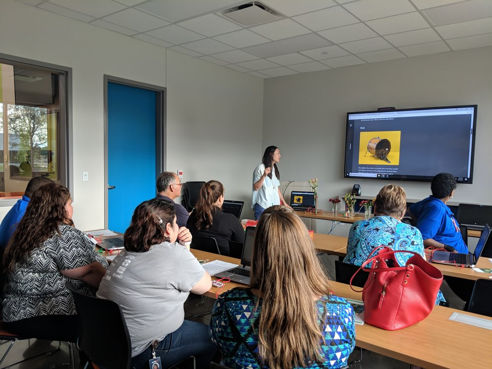 Beyond the Banana - Build a Flower Drum Set: Code Park's professional development session for Aldine ISD Digital Learning Specialists and Librarians. Wanjun shows educators how to incorporate beat-making into STEM and Computer Science education. Courtesy of Amanda Shih . September 6th, 2018.