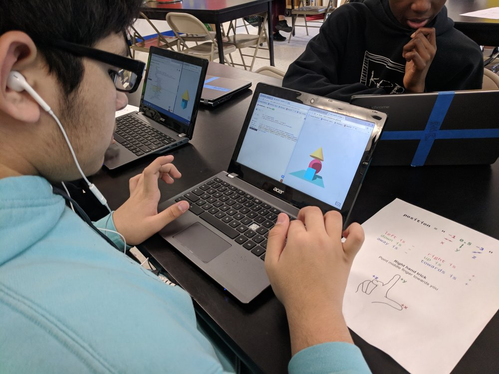 Example : In Code Park's Create Your Own Virtual Reality workshop at KIPP Academy, a student learns how to code his own VR environment with HTML, CSS and Javascript. April 2018. Courtesy of Wanjun Zhang.