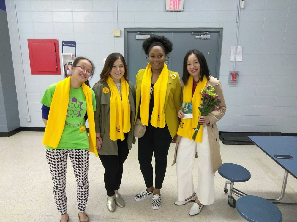 Ms. Garcia-Powell, Ms. Serrano and Code Park celebrate National School Choice week at Deady's STEM Night! Courtesy of Deady Student. January 22nd, 2019.