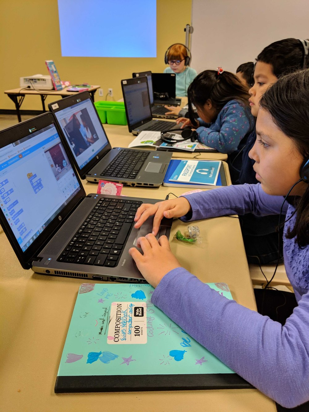 Students animate a pixelating glitch effect for their own episode of a cartoon show  using concepts such as sequencing and procedures! Courtesy of Brenda Nguyen. February 13th, 2019.