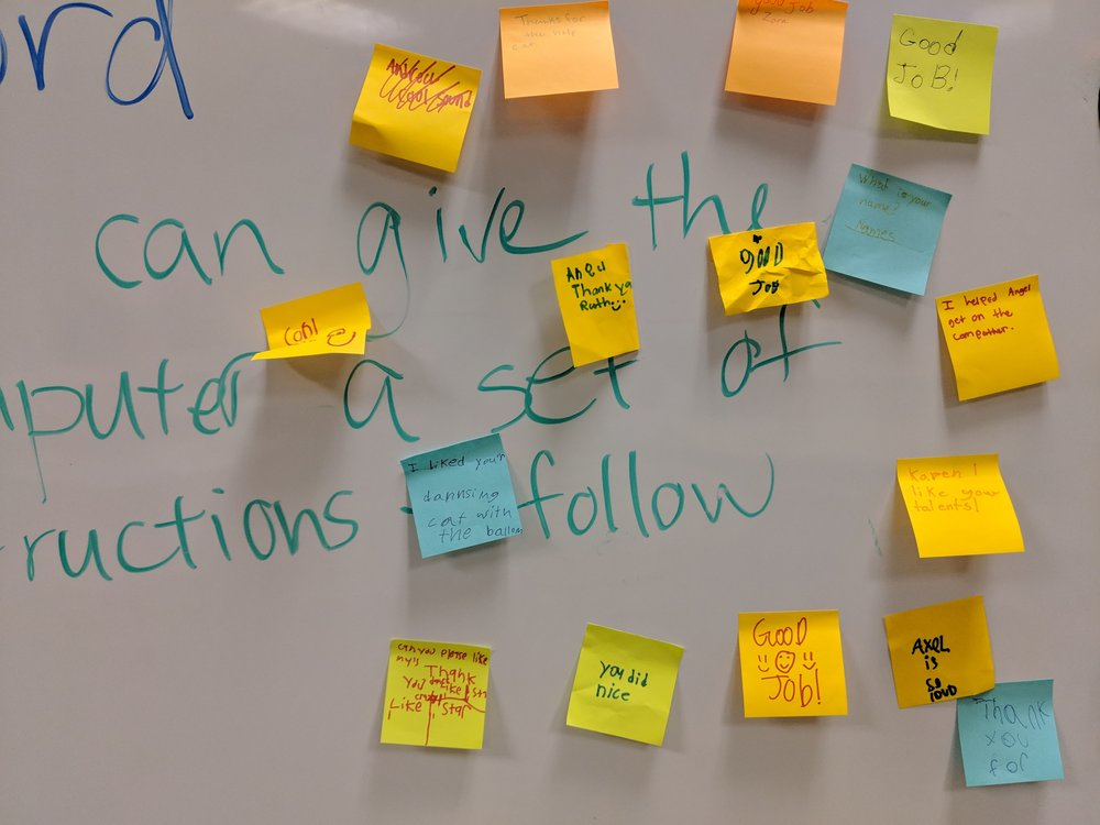 Club members share encouraging thoughts to each other with CSFirst shoutouts. Courtesy of Amanda Shih. January 16th, 2019.