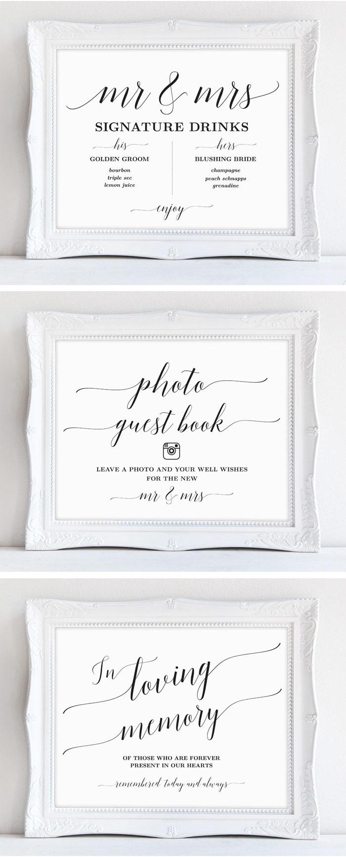 Printable Wedding Signs