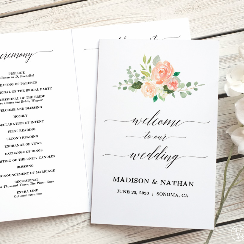 Peach blush wedding program