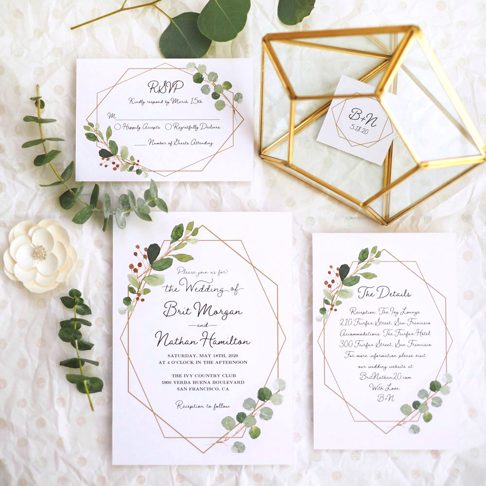 Geometric Greenery Wedding Invitation Set