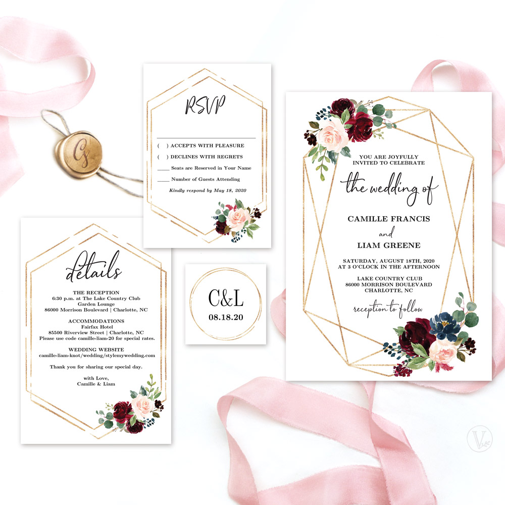 Geometri cMarsala Gold Invitation Set