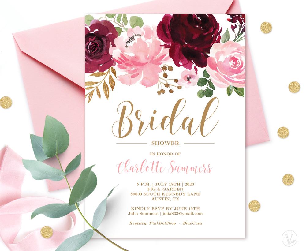 Burgundy Pink BridalShower Invitation Card