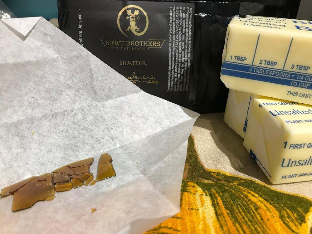 Our ingredients list : Crock Pot, Organic butter,  Newt Brothers Artisanal Bio Diesel Shatter , dash of Himalyan pink sea salt.