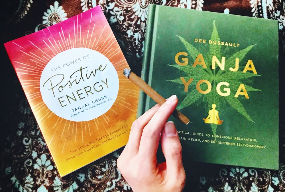Book of the Month  The Power of Positive Energy,  pictured here with another amazing book that accompanies it perfectly  Ganja Yoga  by Dee Dussault