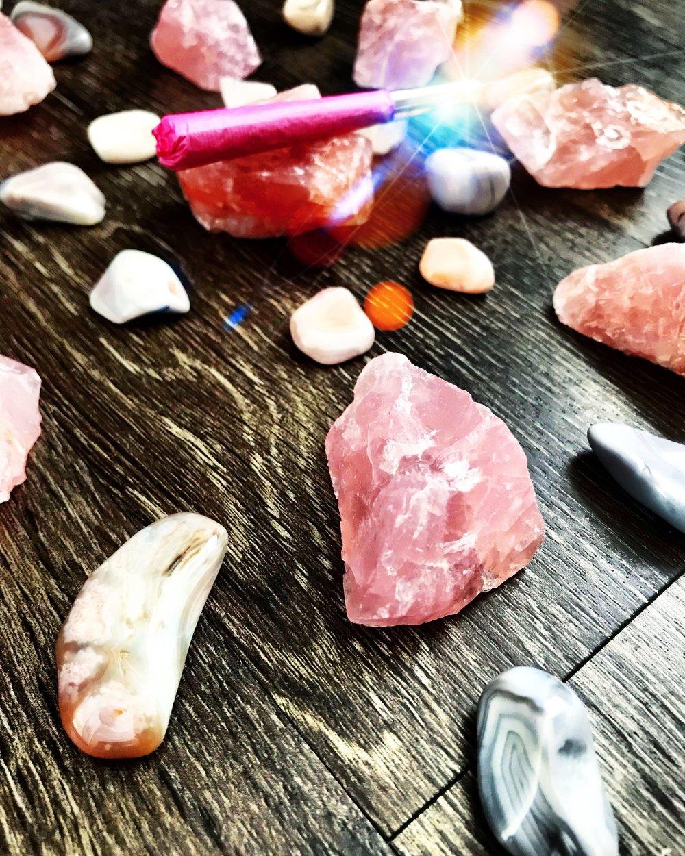power pink hemp cones, pink Botswana agate, and rose quartz.