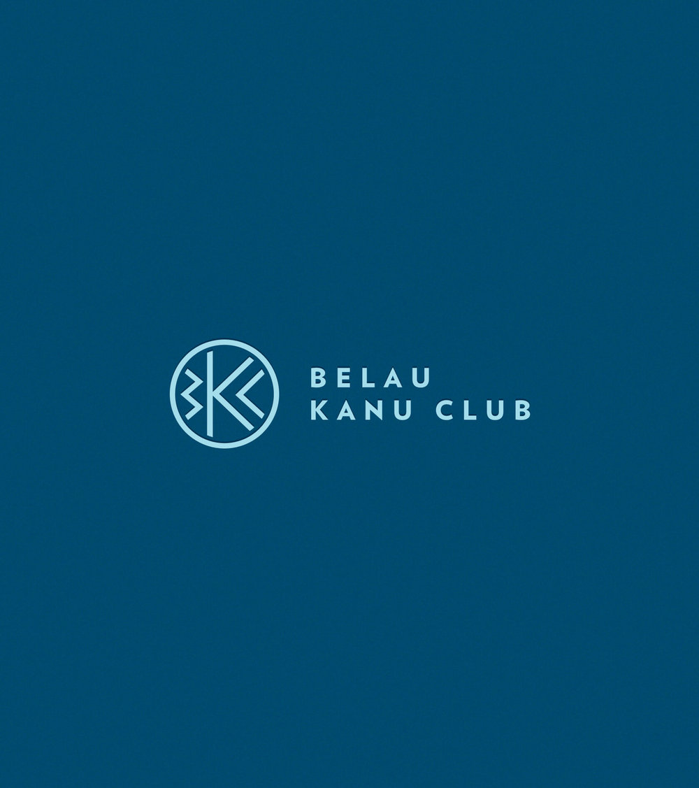 belau kanu club primary logo lock up on navy blue background