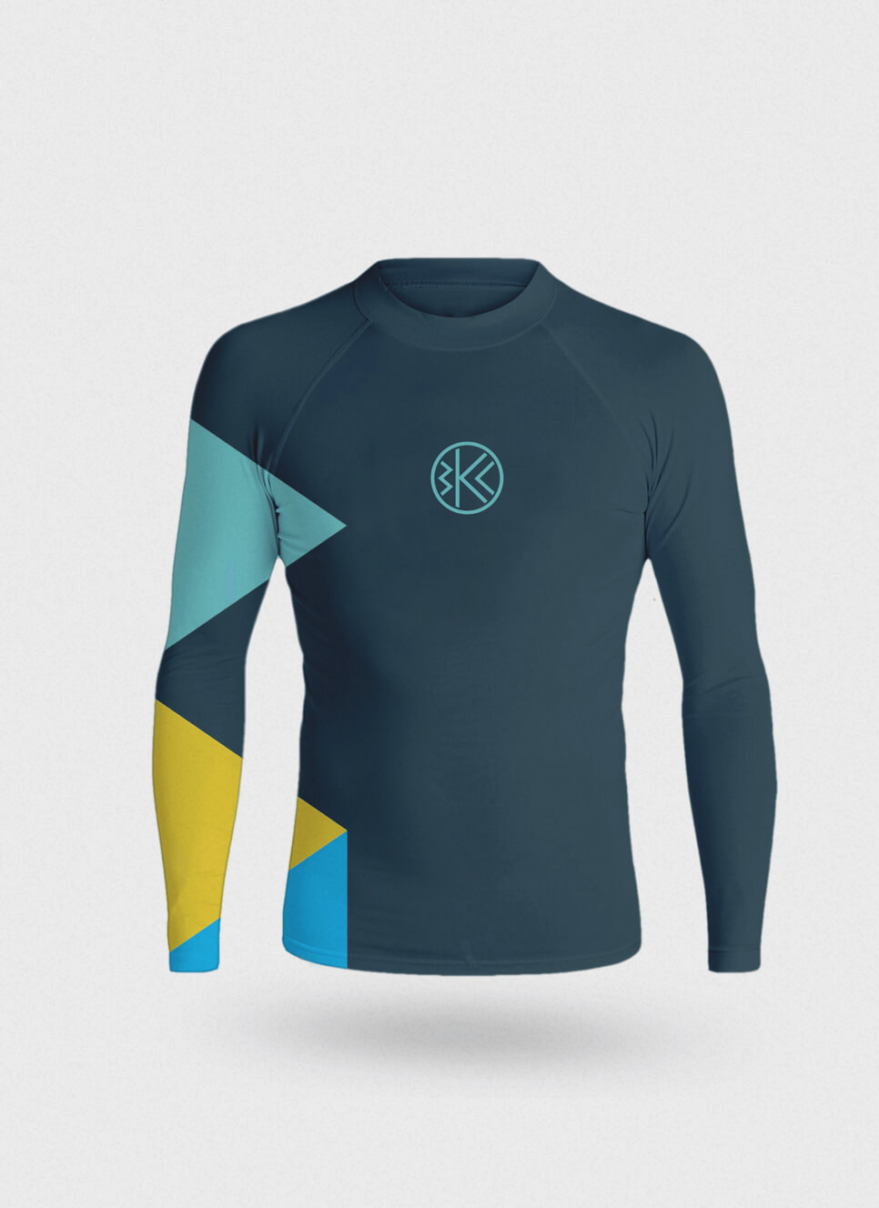 Belau Kanu Club rashguard with graphic device of triangles on the sleeves