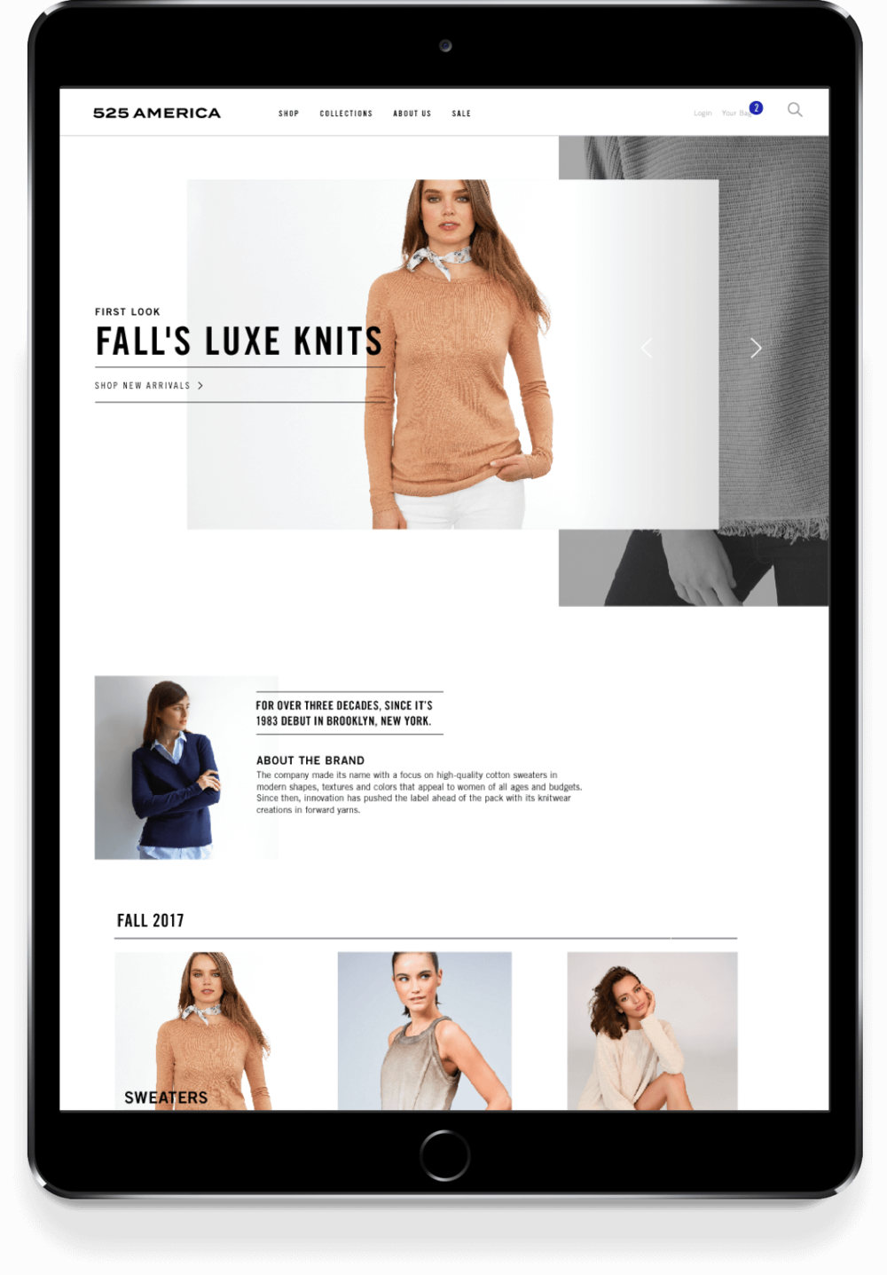 525 America responsive website displayed on iPad with latest collections of sweaters