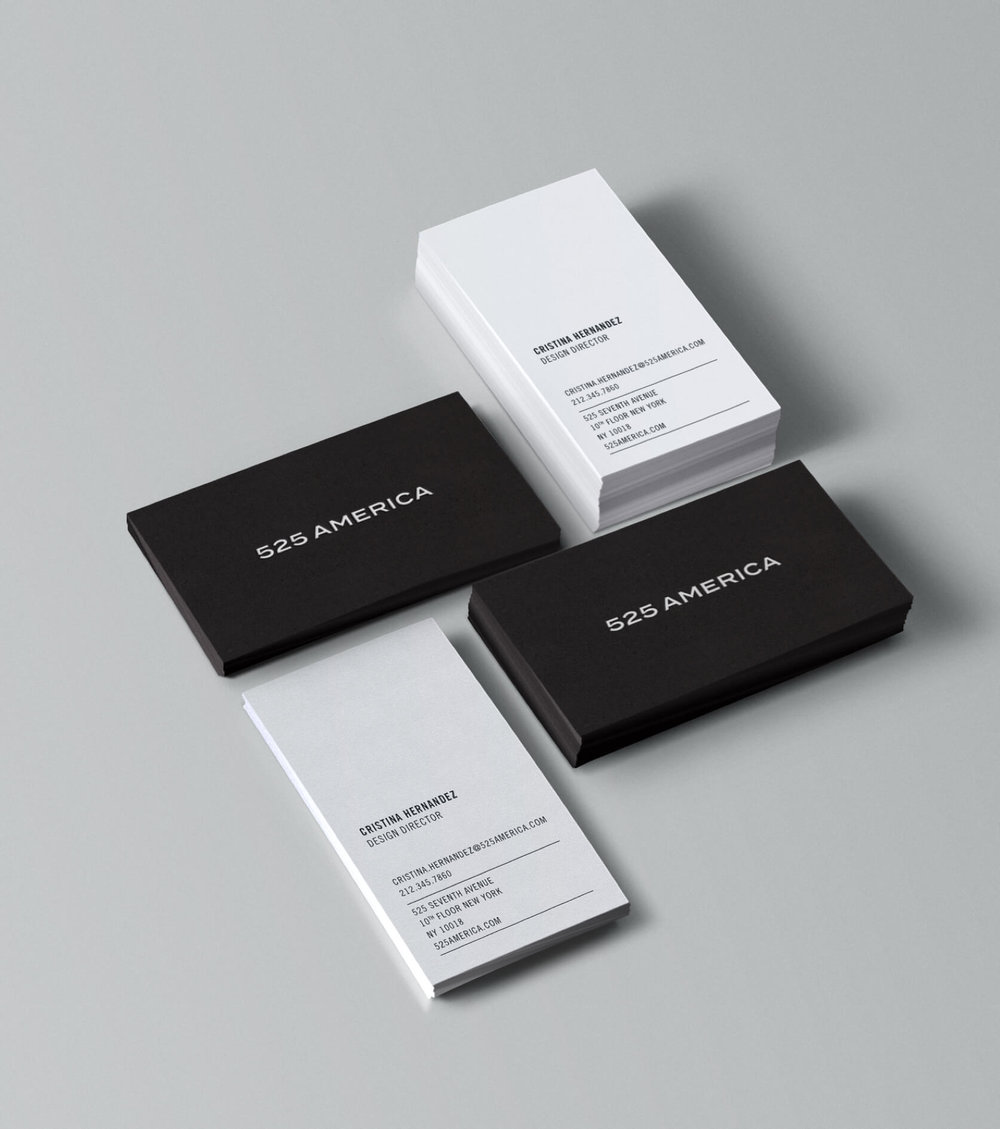 525 America black and white business cards marketing materials