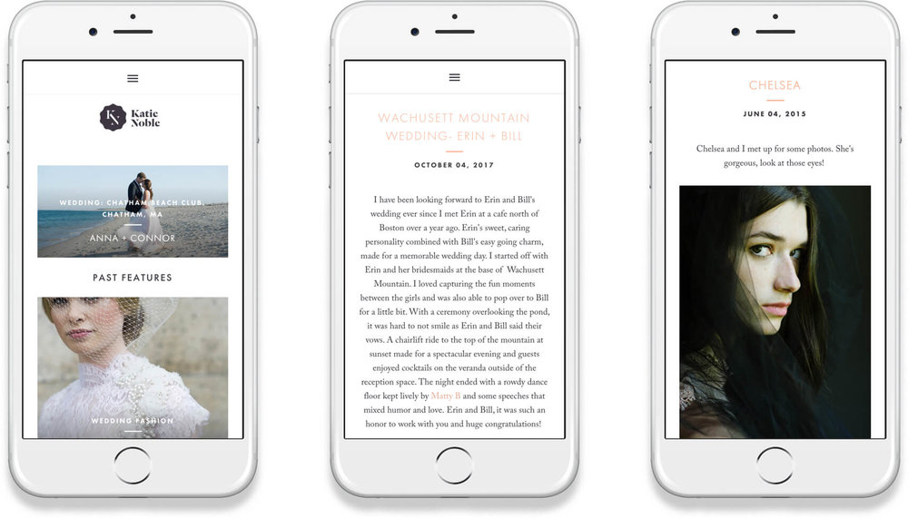 Katie Noble Responsive website on iPhone with featured weddings, blog and fashion examples