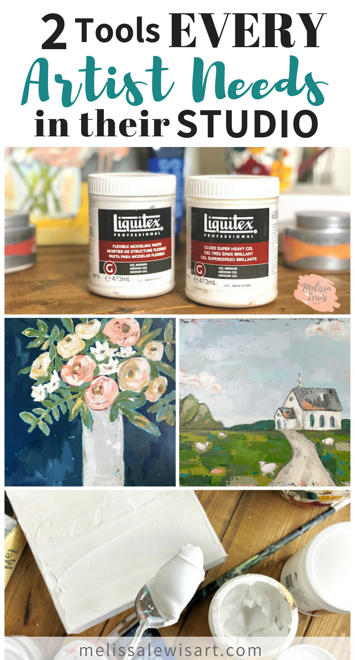 2 Tools every artist needs in their studio. Get texture in your art and make your acrylic art look like you painted with oil! By Melissa Lewis.
